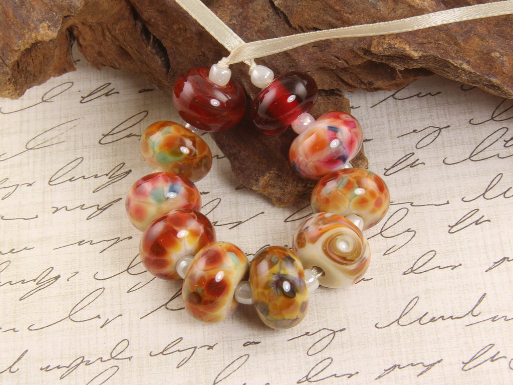 Red Yellow Orphans Lampwork Beads Set SRA