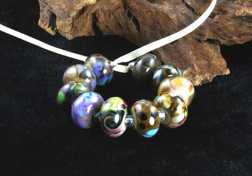 10 Multicolor Orphans Lampwork Beads Set 2 SRA