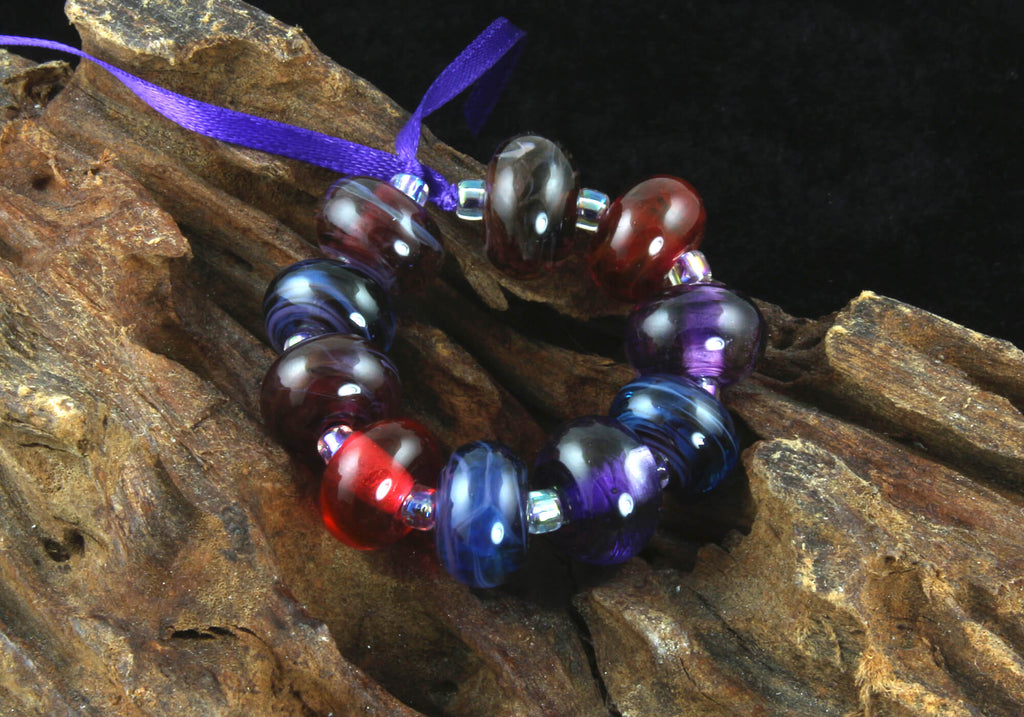 10 Blue Purple Pink Swirls Lampwork Beads Set SRA