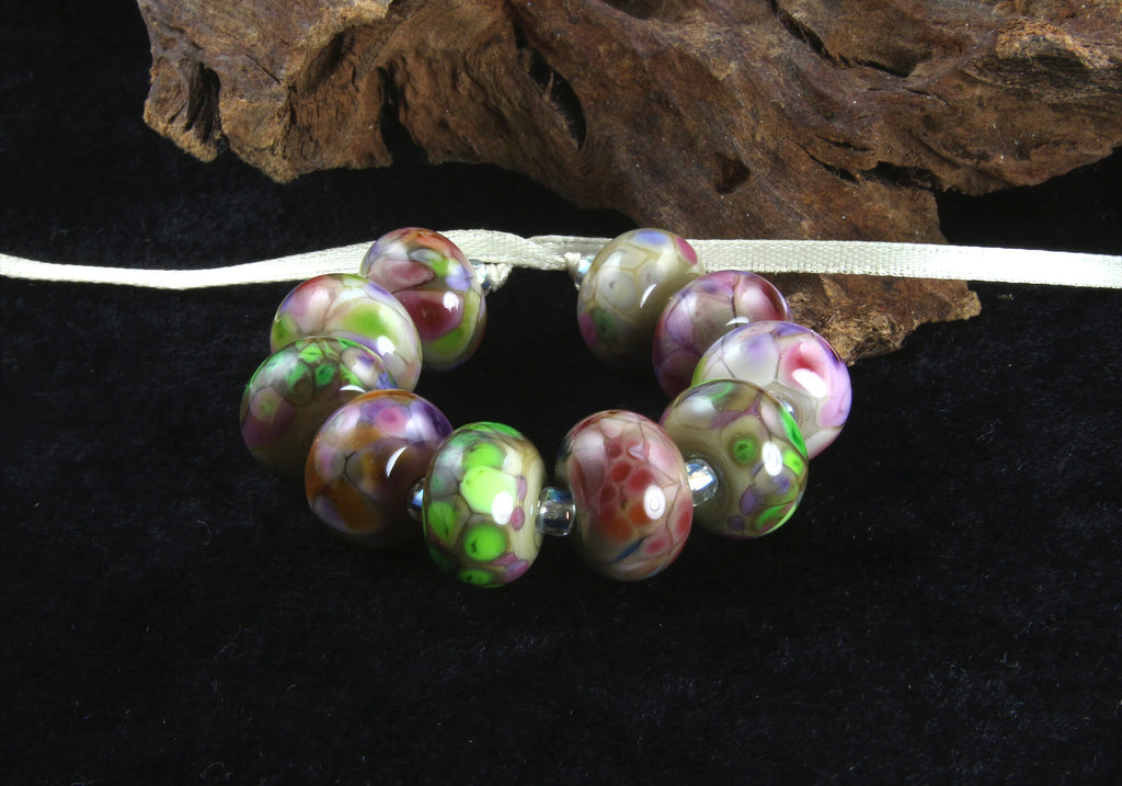 10 Multicolor Green Orphans Lampwork Beads Set SRA