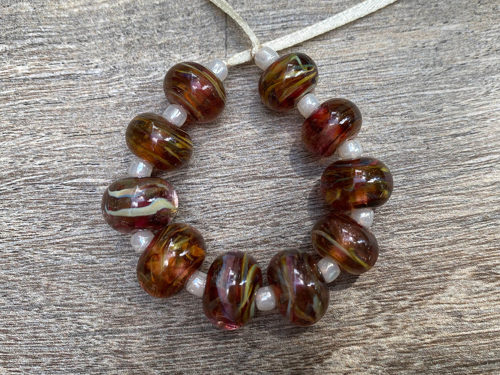 10 Ruby Brown Swirls Lampwork Beads SRA