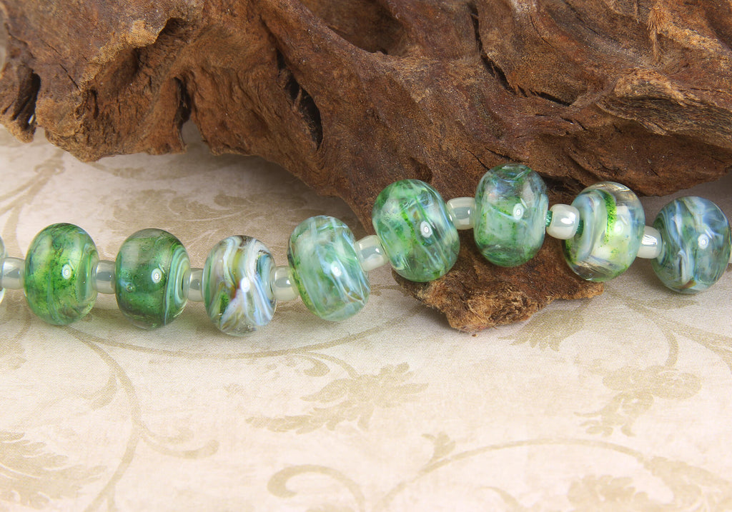 9 Green Mist Lampwork Beads Set SRA