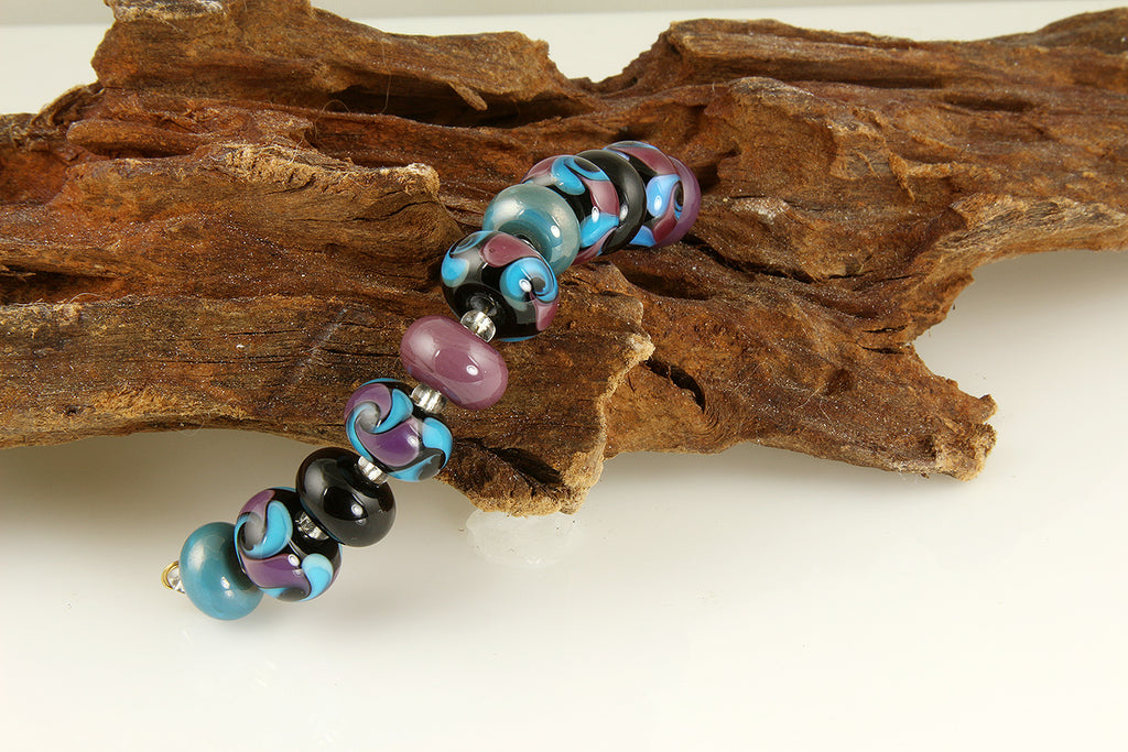 Purple Turquoise Swirls Handmade Lampwork Glass Beads SRA