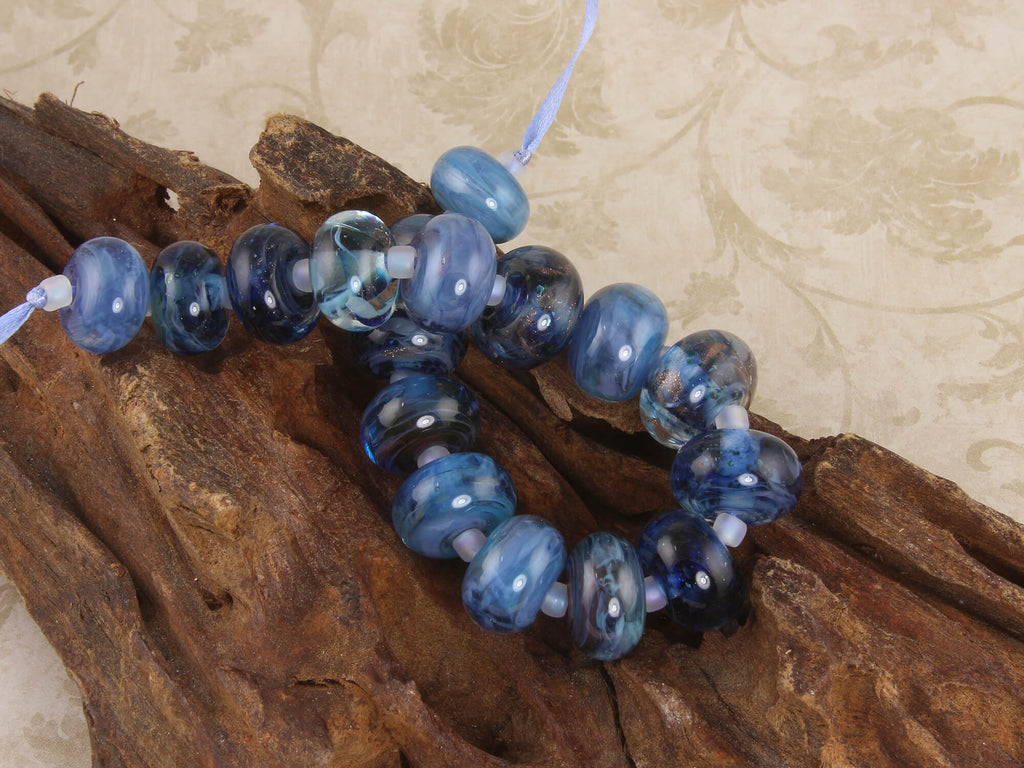 Steel Blue Orphan Lampwork Beads Set SRA