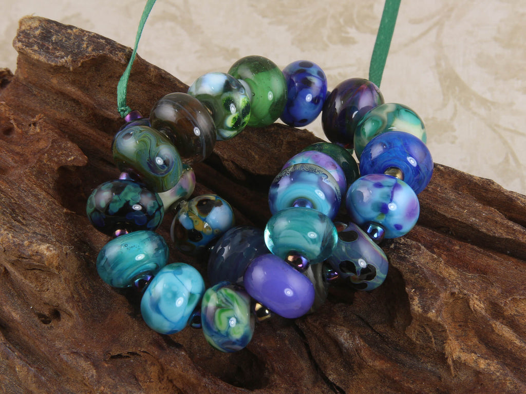 24 Blue Orphan Lampwork Beads Set SRA