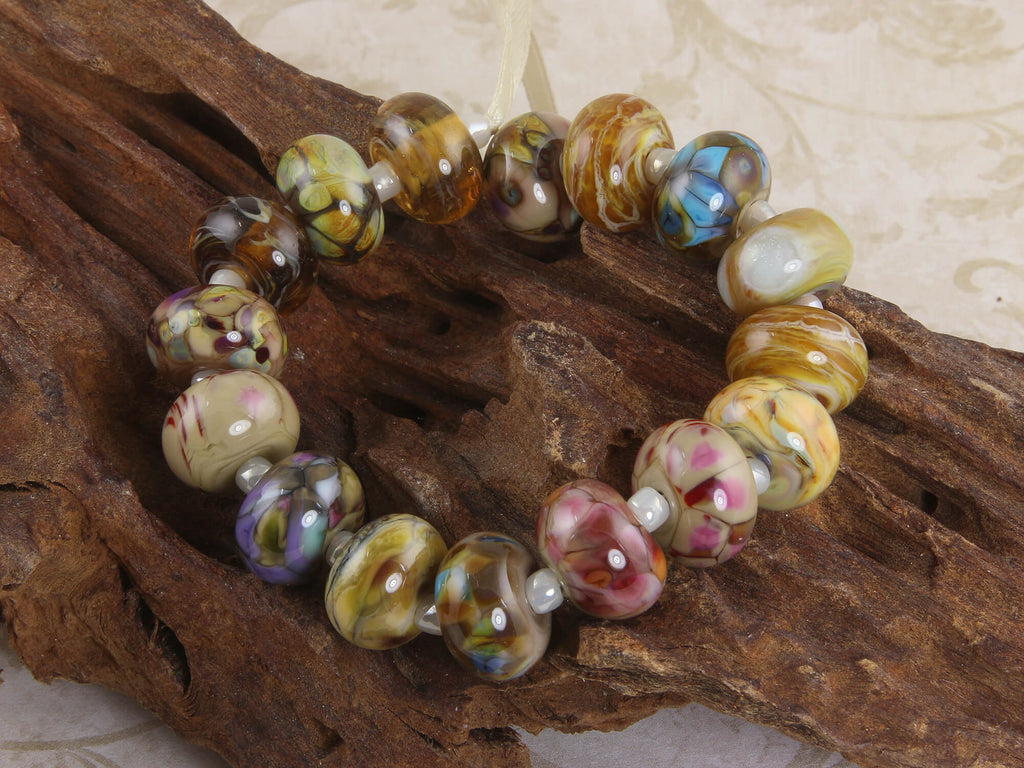 16 Yellow Orphan Lampwork Beads Set SRA