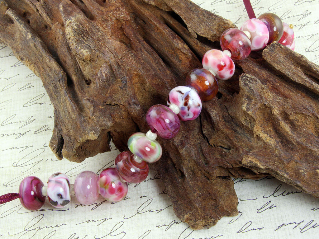 Pink Mix Orphans Lampwork Beads Set SRA