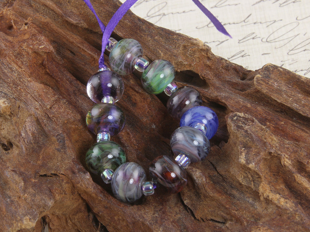 Purple Swirls Lampwork Beads Set SRA