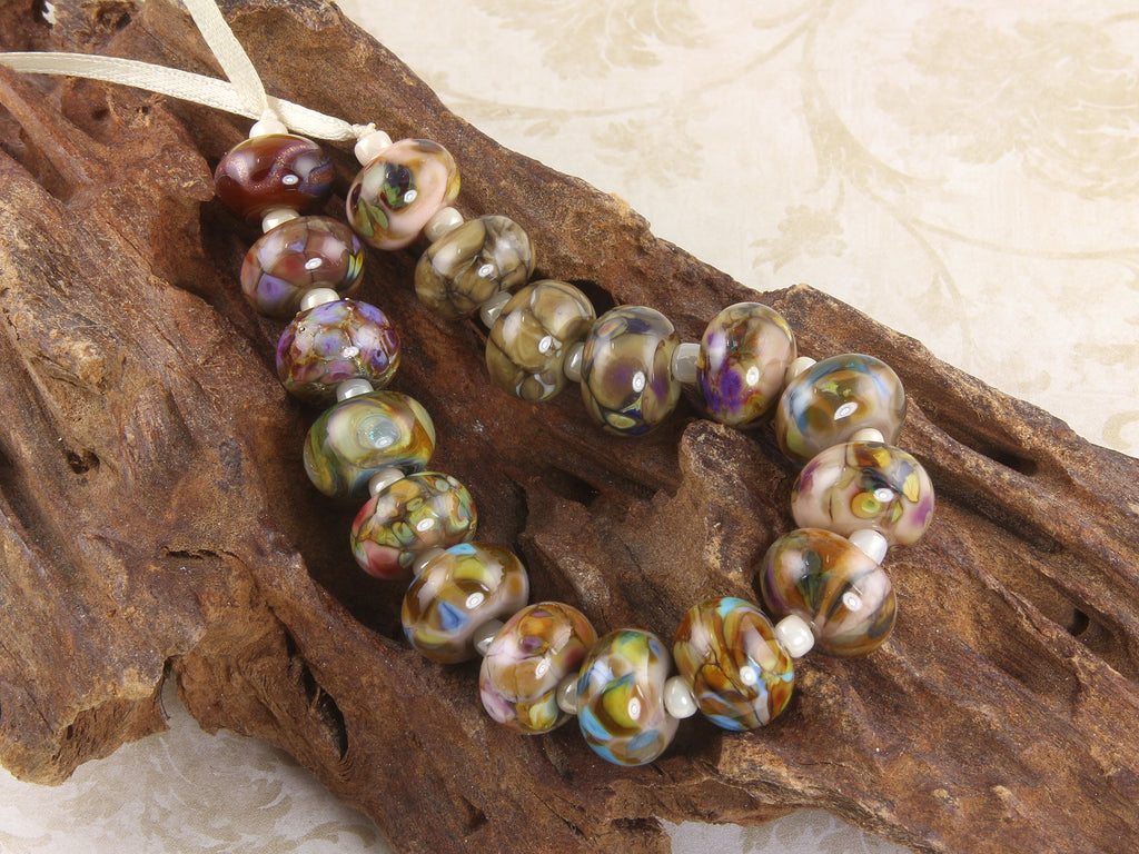 17 Brown Orphan Lampwork Beads Mix SRA