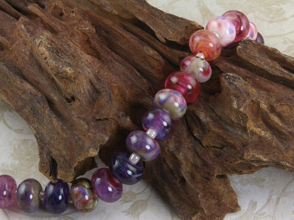 16 Pink & Purple Orphan Lampwork Beads Mix SRA