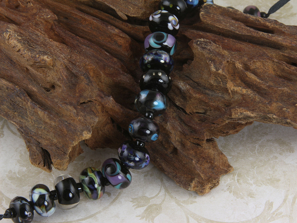 19 Black Orphan Lampwork Beads Set SRA