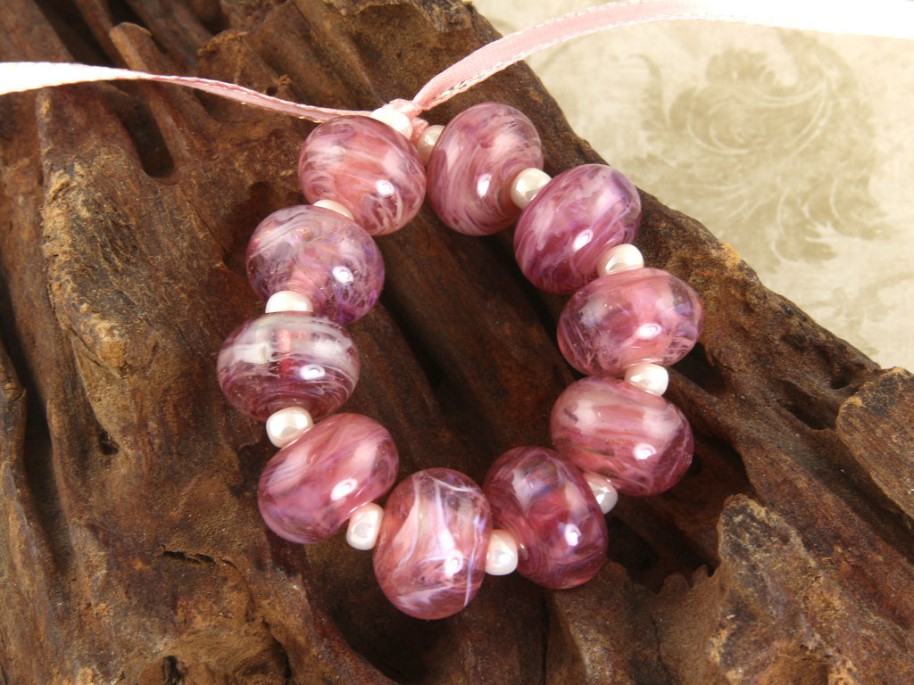 Rose Pink Shimmer Lampwork Beads Set SRA