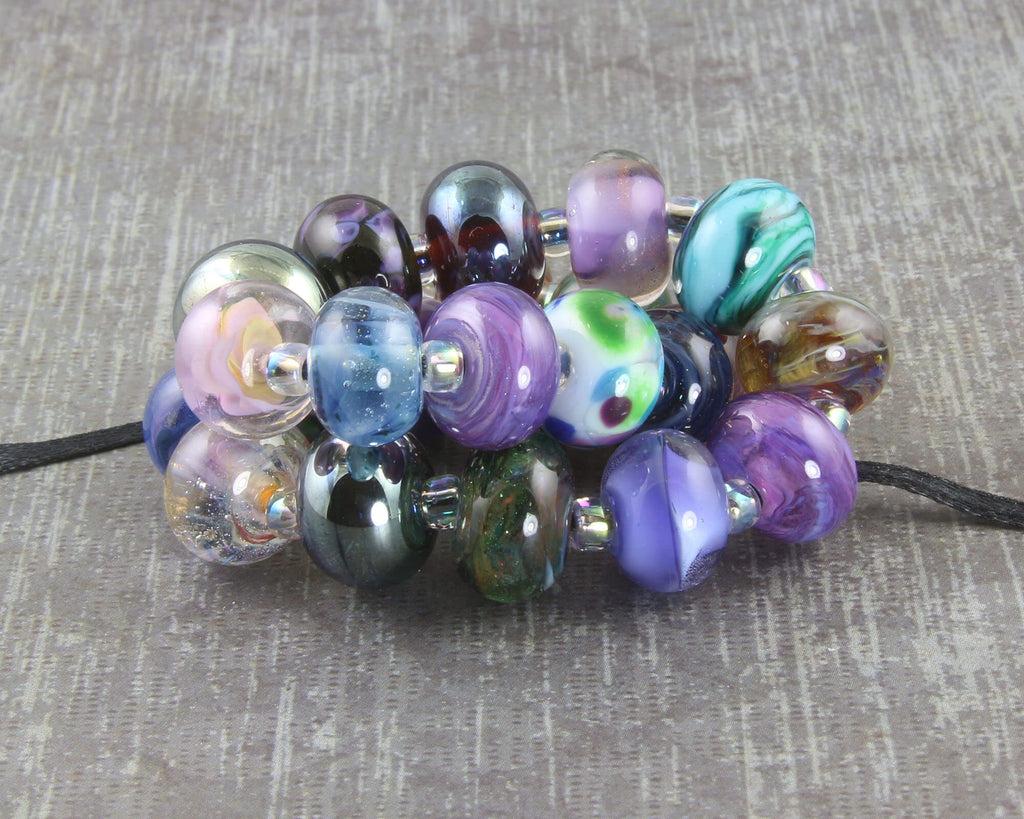 Blue Purple Green Lampwork Beads Set SRA