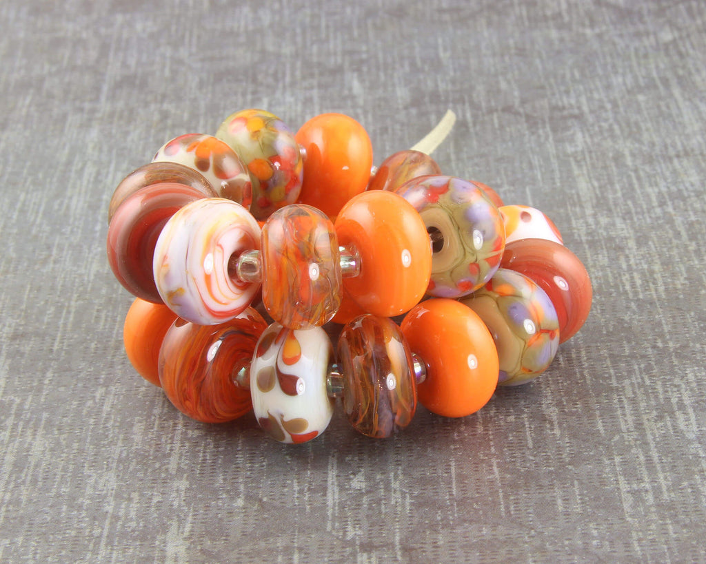 Fancy Orange Lampwork Beads Set SRA