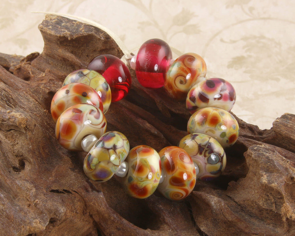 Cheery Mosaic Lampwork Beads Set SRA