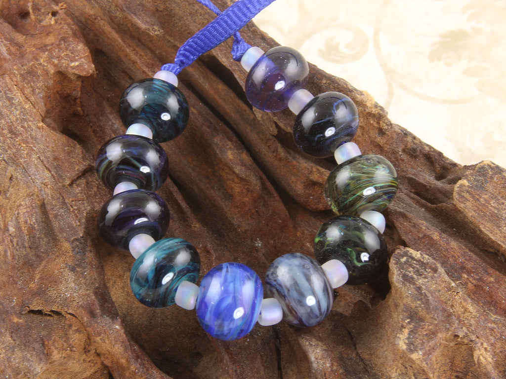 Into the Deep Dark Multicolor Mini Lampwork Beads Set SRA