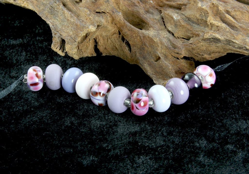 11 Handmade Pink & Purple Lampwork Beads Set SRA