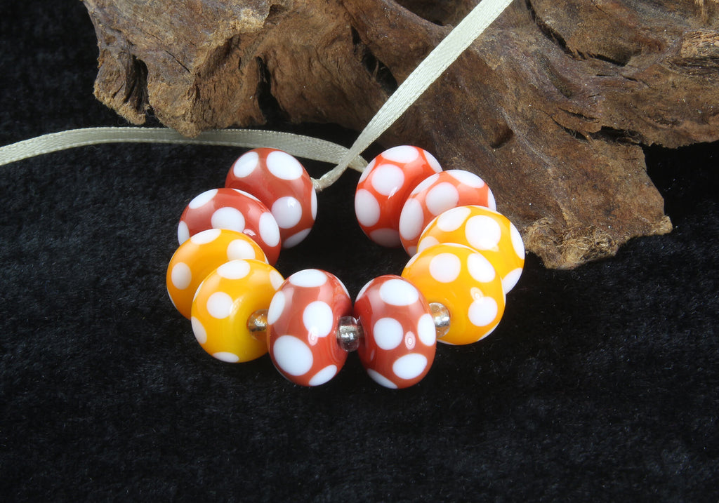 10 Handmade Red Yellow Polka Dot Lampwork Beads SRA