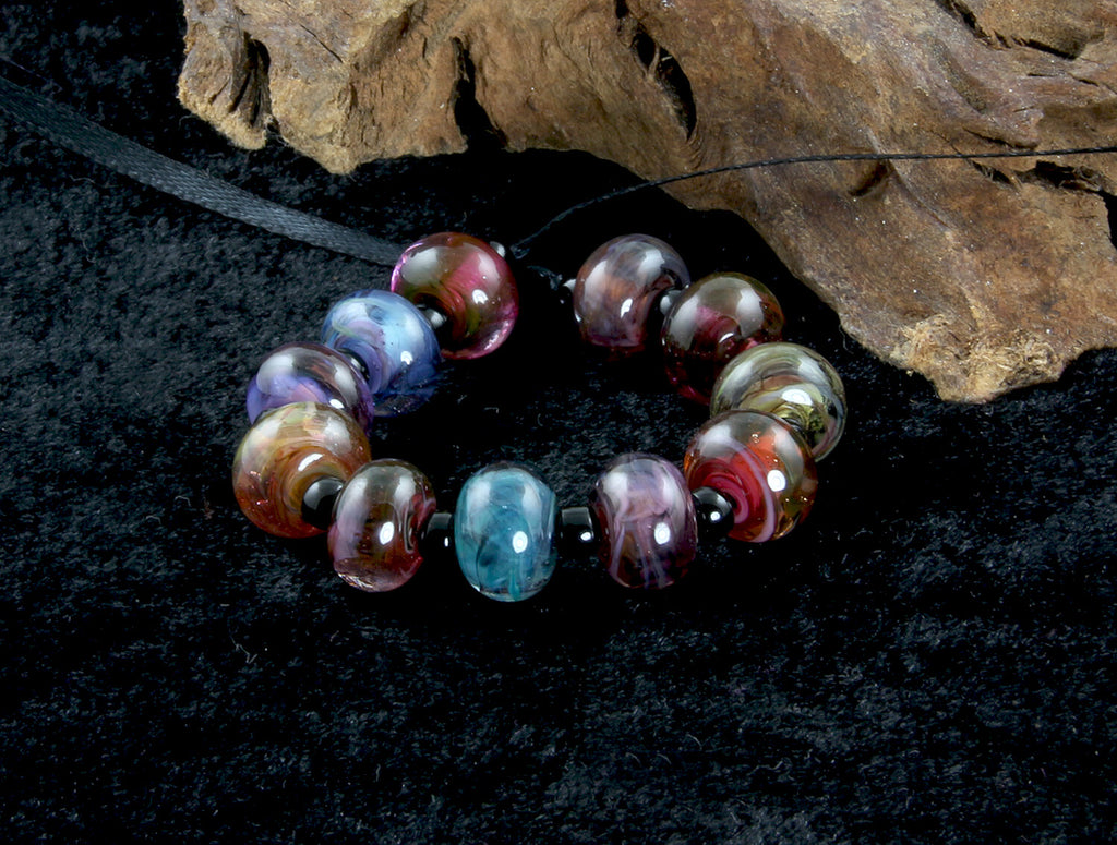 11 Handmade Mini Multicolor Swirl Lampwork Beads Set SRA