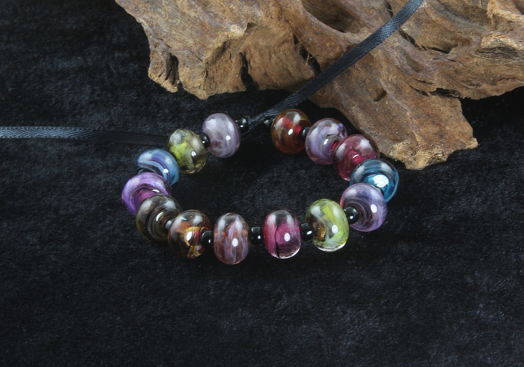 14 Handmade Mini Multicolor Swirl Lampwork Beads Set SRA