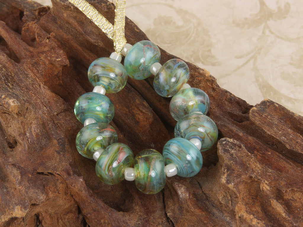 10 Aqua Gold Lampwork Beads Set SRA