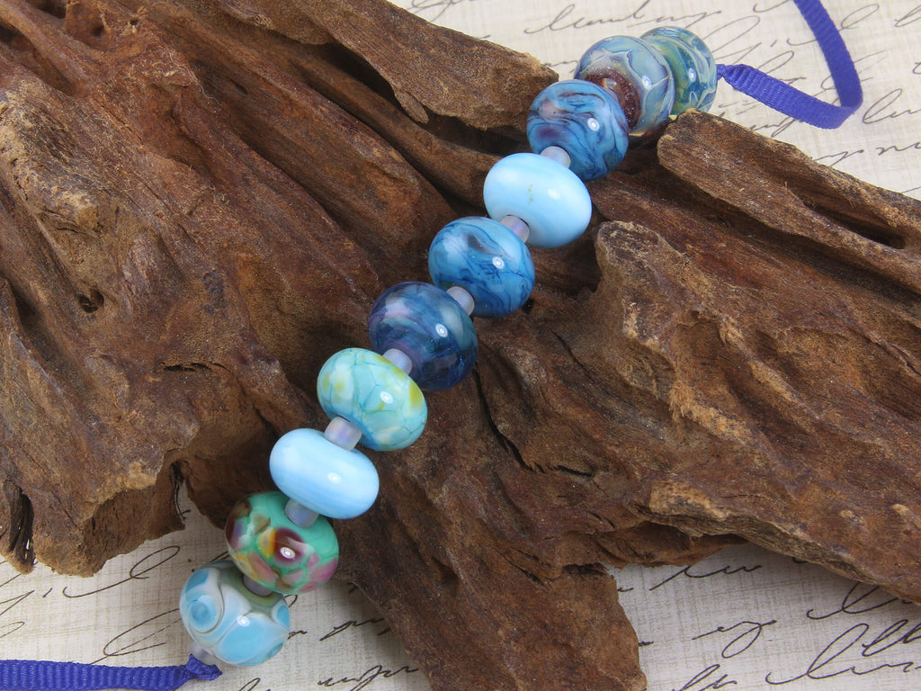 Aqua Blue Orphan Mix Lampwork Beads Set SRA
