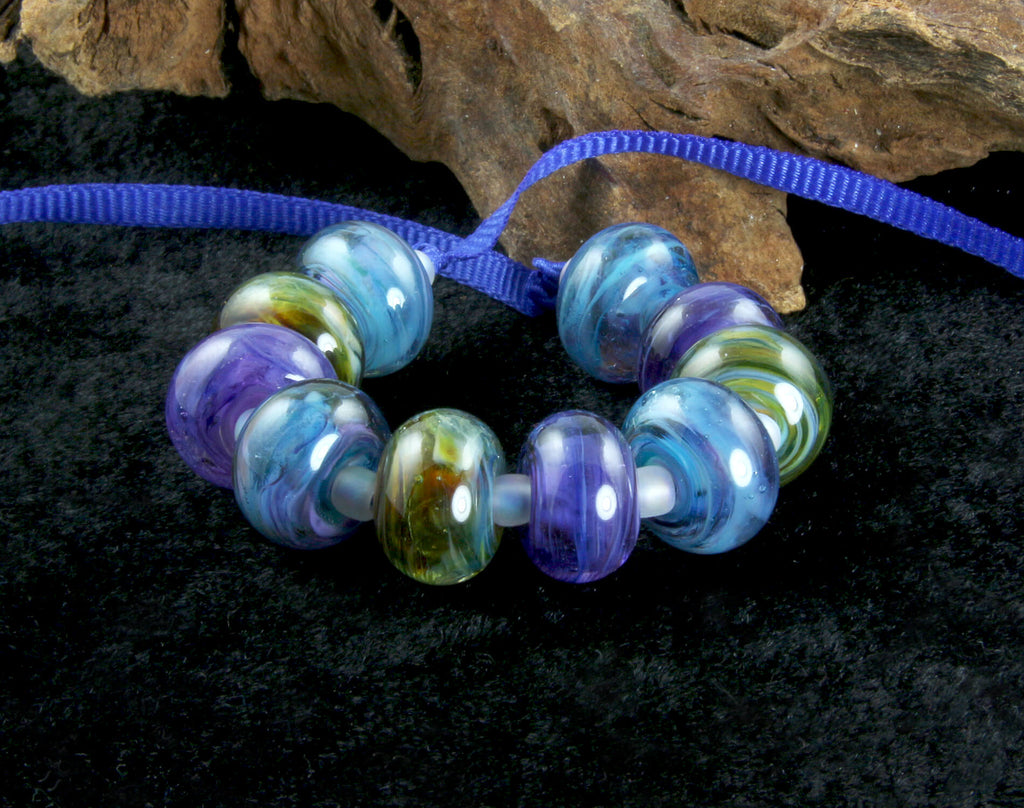 Blue Green Mix Lampwork Beads Set SRA
