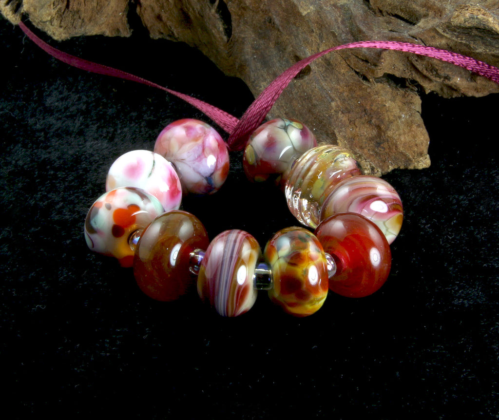 Pink Yellow Orphans Lampwork Beads Set SRA