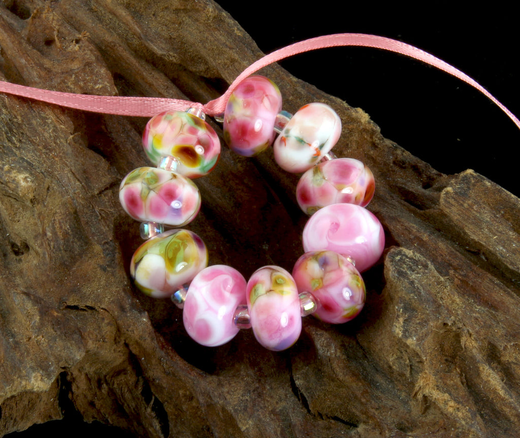 Rose Pink Orphans Lampwork Beads Set SRA