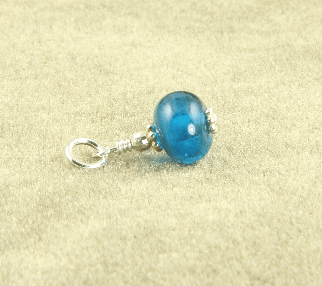 Aqua Lampwork Glass Charms, Sterling Silver