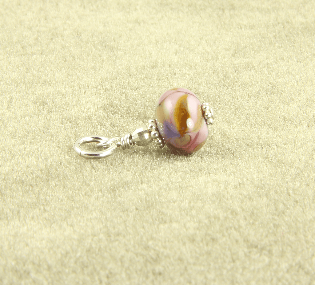 Pink Marble Lampwork Glass Charms, Sterling Silver