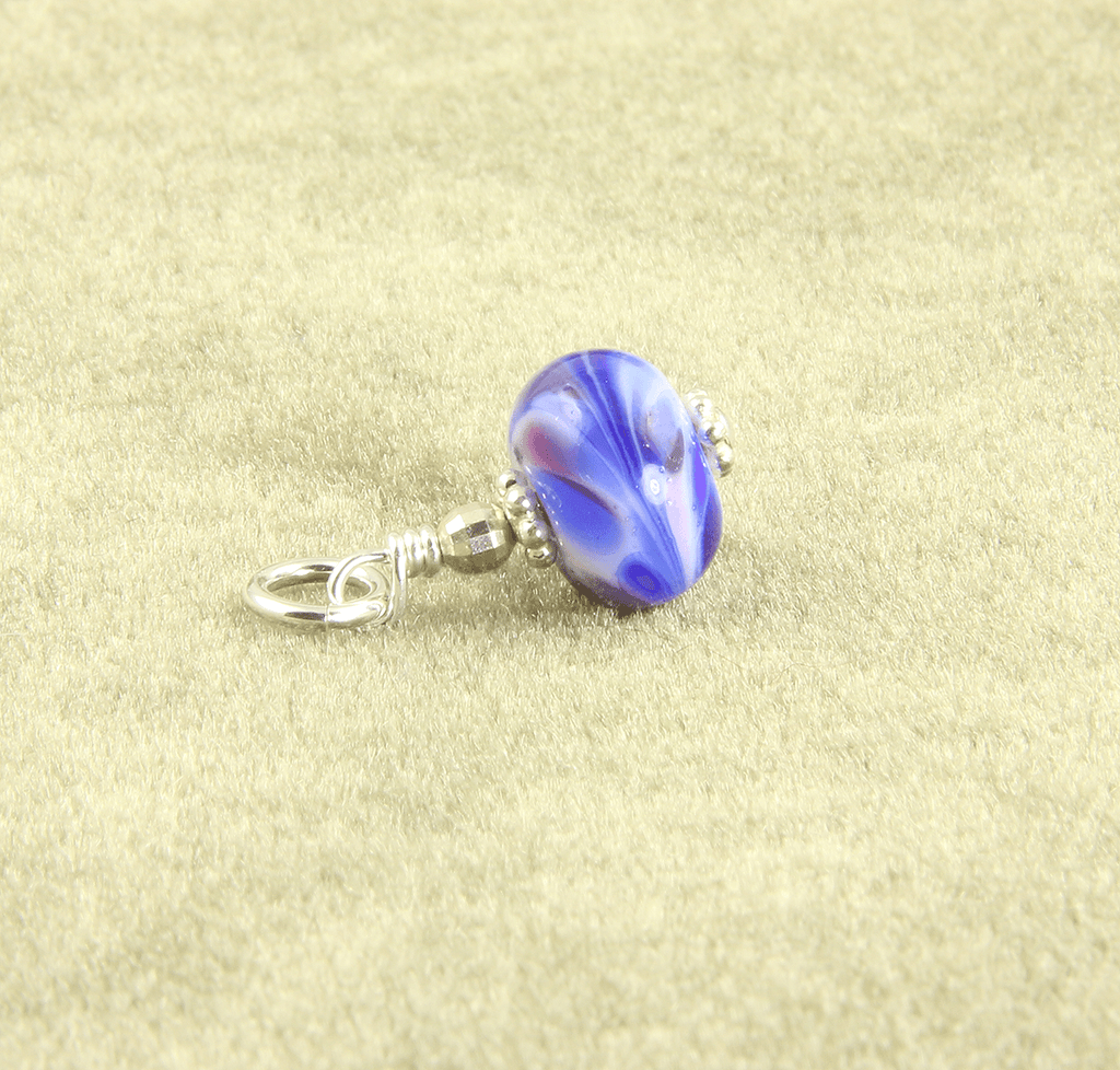 Blue Swirls Lampwork Glass Charms, Sterling Silver