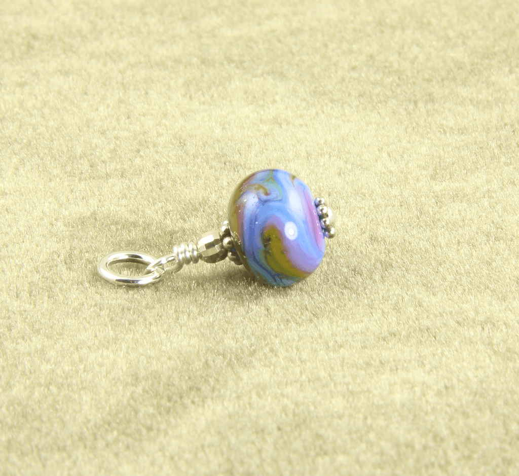 Rainbow Swirls Lampwork Glass Charms, Sterling Silver