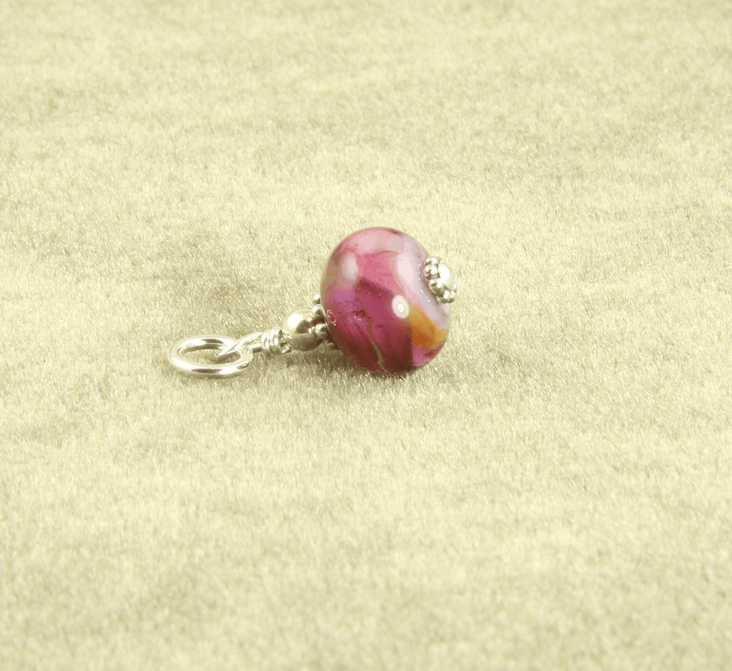 Pink Swirls Lampwork Glass Charms, Sterling Silver