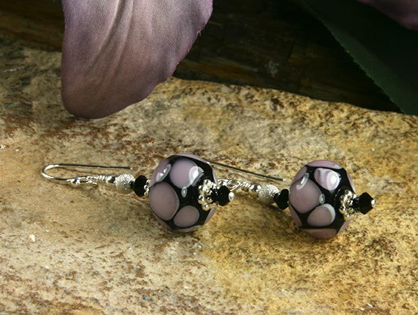 Purple Black Lampwork Glass Earrings - SWCreations