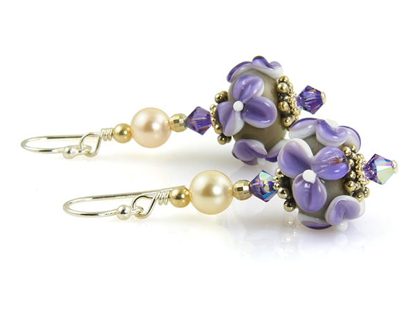 Purple Floral Lampwork Bead Earrings - SWCreations
