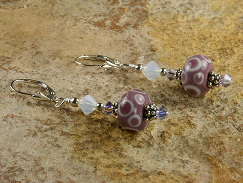 Mauve Pink Lampwork Bead Earrings - SWCreations
