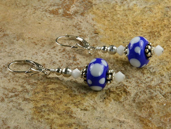 Blue Polka Dot Lampwork Earrings - SWCreations