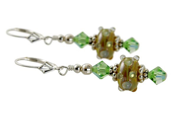 Golden Green Lampwork Bead Earrings - SWCreations