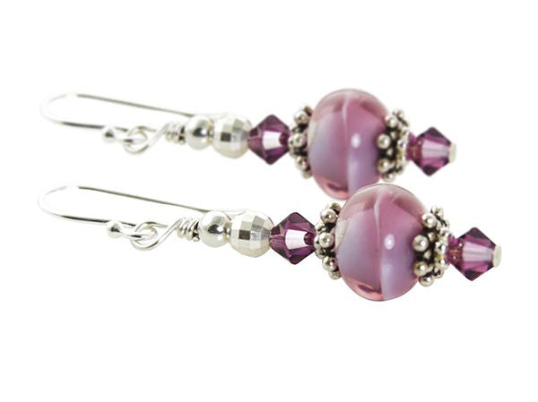 Amethyst Swirls Lampwork Earrings - SWCreations