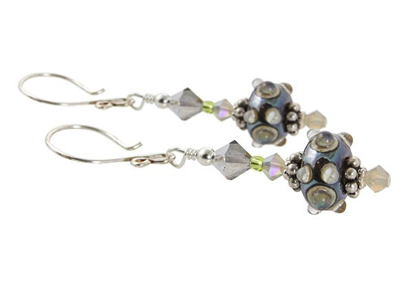 Sand Green Lampwork Glass Earrings - SWCreations