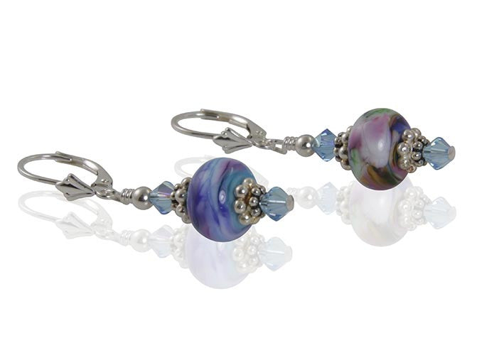 Sunset Swirls Lampwork Bead Earrings - SWCreations