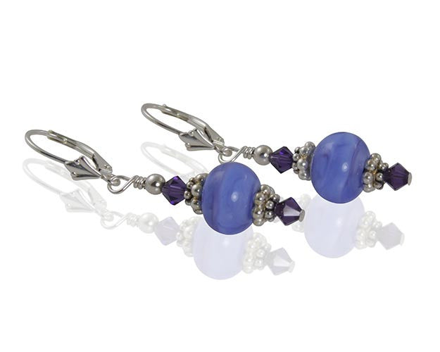 Periwinkle Blue Lampwork Bead Earrings - SWCreations