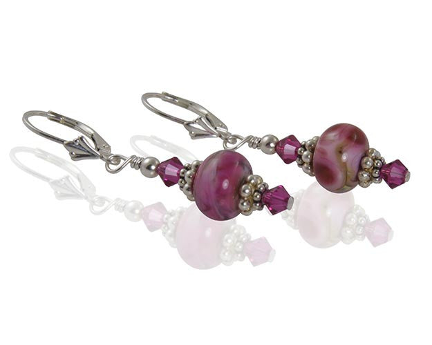 Fuchsia Pink Lampwork Bead Earrings - SWCreations