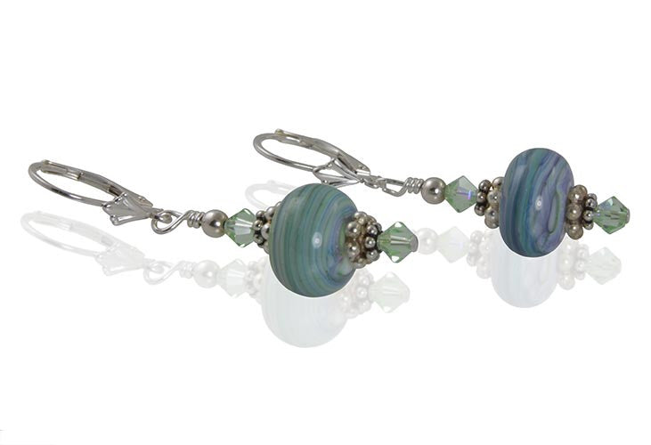 Glacial Striations Lampwork Bead Earrings - SWCreations