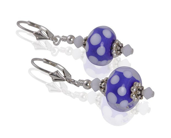Blue Dots Lampwork Bead Earrings - SWCreations