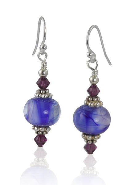 Amethyst Swirls Lampwork Bead Earrings - SWCreations