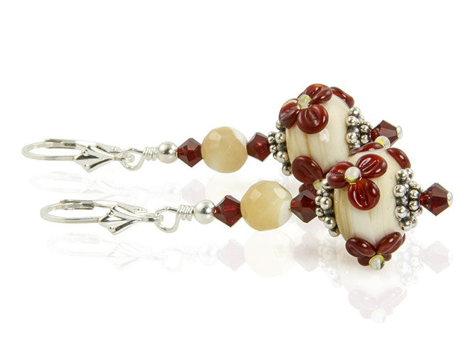 Crimson Ivory Floral Lampwork Earrings - SWCreations