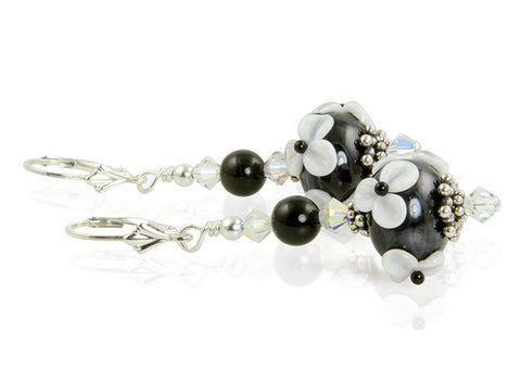 Black White Floral Lampwork Earrings - SWCreations