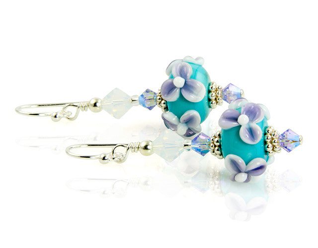 Turquoise Lilac Floral Lampwork Earrings - SWCreations